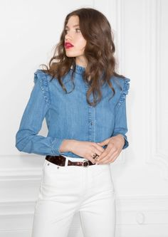 & Other Stories image 2 of Chambray Frill Blouse in Blue