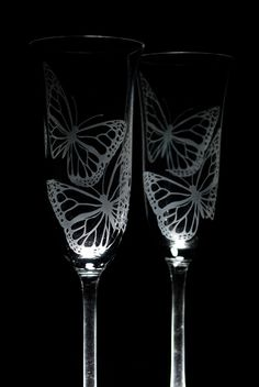 Wedding Champagne Flutes  Toasting Flutes  Butterflies