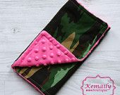 Hot Pink Camo Minky Burp Cloth From Kemaily