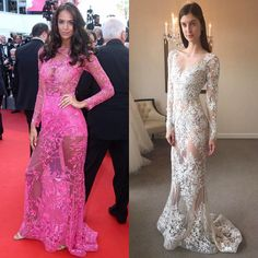 "Gorgeous Jade Foret Lagardere looked divine in a sheer vibrant pink beaded gown by Zuhair Murad at the 2017 Cannes Film Festival red carpet! Get the bridal inspired style ""Vassilia"" long sleeves V-neck sheath gown featuring ethereal floral lace embroidery with illusion back from Zuhair Murad Fall 2017 Wedding Collection! Now in store only at Belle & Tulle Bridal in Singapore! @zuhairmuradofficial #zuhairmurad #zuhairmuradbridal #vassilia #embroidery #sheath #lace #wedding #weddinggown…"