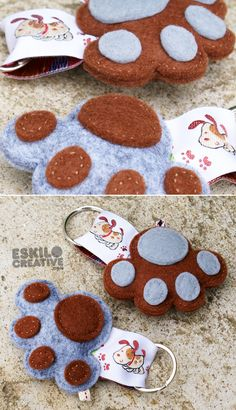 Porta-chaves# 5,00€ cada     Pata cinza/castanho   Ref.: PCHG35   Pata castanho/cinza   Ref.: PCHG36     Pata castanho/creme  ... Baby Crafts, Felt Crafts, Diy And Crafts, Crafts For Kids, Sewing Crafts, Sewing Projects, Diy Keychain, Keychains, Felt Christmas Decorations