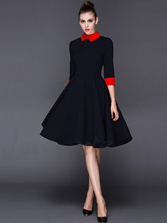 Women Dress Doll collar Sleeve Party A-line Yellow Black Short Dresses Slim New Autumn And Winter Elegant Fashion Vintage One Piece Dress, Dress Up, Day Dresses, Short Dresses, Pleated Dresses, Vintage Mode, Dress Picture, Elegant Woman, Classy Outfits