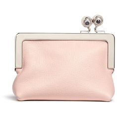 Sophie Hulme 'Sidney' googly eye leather coin purse ($225) ❤ liked on Polyvore featuring bags, wallets, pink, snap closure wallet, genuine leather wallet, coin pouch, leather change purse and snap wallet