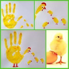Handprint chicken and chicks  #BastelideenfürzuHause #chicken #chicks #handprint,