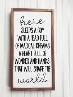 9e2e2237c7e33 Here Sleeps a Boy Wood Sign, Boy's Room, Boy's Nursery, Nursery decor,