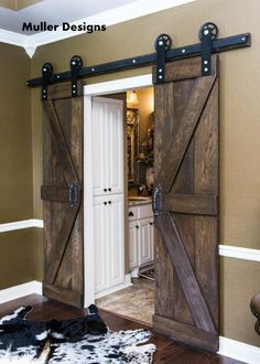 Enhance Your Home Interior With Barn Doors - Vintage Industrial Spoked European Sliding Barn Door Closet Hardware set. Barn Door Cabinet, Barn Door Hardware, Rustic Hardware, Window Hardware, Cabinet Hardware, Bad Inspiration, Furniture Inspiration, Barn Door Closet, Rustic Closet