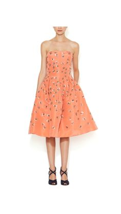 Oscar de la Renta Silk Faille Embellished Strapless Dress