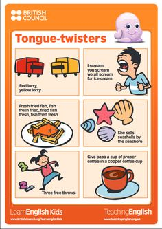 Classroom posters for Tongue twisters.Tongue twister is fun activity for children to advence fluency of English. English Language Learning, Teaching English, Learn English, English Idioms, English Vocabulary, Tongue Twisters For Kids, British Council, English Lessons For Kids, English Activities For Kids