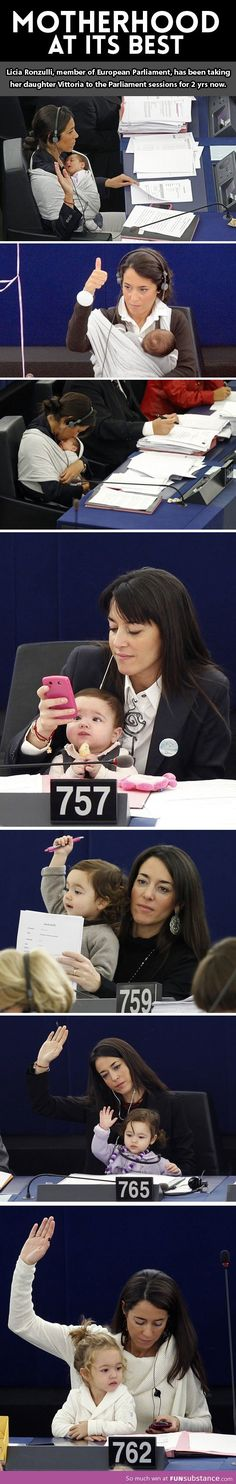 "In 2010 Licia Ronzulli, Italian MEP took her baby Vittoria to a vote in the European Parliament, keeping her carefully cradled in a sling and occasionally kissing her forehead. She was taking advantage of relatively relaxed rules that allow women to take their babies to work. Ronzulli brought Vittoria not as a political gesture but as a maternal one because she was still breastfeeding. She recognized that most women do not have this opportunity and that ""we should do something…about this."""