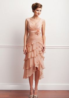 Pink V-neck Mother of the Bride Dress with Detachable Belt and Multi-Layers