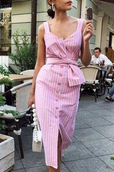 Shop Botão Bowknot listrado através do vestido – Discover sexy women fashion at Boutiquefeel Mode Outfits, Dress Outfits, Modest Dresses, Casual Dresses, Work Dresses, Midi Dresses, Casual Outfits, Fall Dresses, Midi Sundress