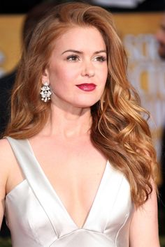 golden red - i think i could do this color  Isla Fisher   - HarpersBAZAAR.com
