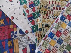 WtW Estate Fabric Quilt Craft Stash Lot 5 ABC Letters School Star USA Folk Apple