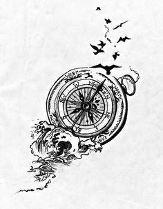 Idées de tatouages Rose des vents and Oiseaux on Pinterest