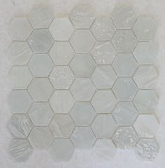 White Beach Glass Recycled Hexagon Mosaic Tile - Rocky Point Tile - Glass and Mosaic Tile Store Hexagon Mosaic Tile, Hexagon Backsplash, Glass Mosaic Tiles, Kitchen Backsplash, Backsplash Ideas, Mosaic Floors, Floors Kitchen, Glass Tile Backsplash, Tile Ideas