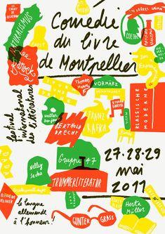 Formes Vives, affiche pour la Comédie du livre de Montpellier, édition 2011 dédiée aux littératures de langue allemande, impression trois to...
