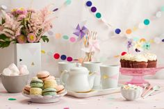 sweets table - confetti, cupcakes and macaroons