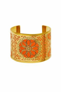 Hand-dyed leather in vibrant colors is encased by floral Moroccan inspired cut outs. Wear with the other cuffs from this collection for advanced style. One size fits most, base is adjustable.   Casablanca Cuffs by Made It!. Accessories - Jewelry - Bracelets New Jersey