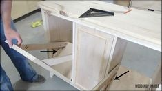 Add Positive Stops Laundry Hamper Cabinet, Tilt Out Laundry Hamper, Tilt Out Hamper, Laundry Cabinets, Diy Cabinets, Furniture Plans, Diy Furniture, Folding Laundry, Concealed Hinges