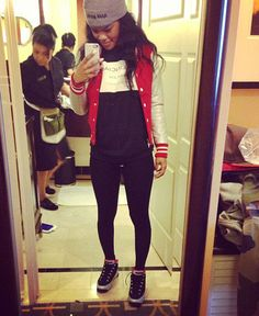 "Teyana Taylor wearing the Air Jordan 9 ""Johnny Kilroy"""