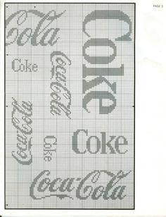 coca cola cross stitch-perfect for my mom! Cross Stitch Needles, Cross Stitch Charts, Cross Stitch Patterns, Crochet Cross, Crochet Chart, Filet Crochet, Cross Stitching, Cross Stitch Embroidery, Coca Cola