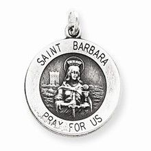 Antiqued Saint Barbara Medal, Charm in Sterling Silver