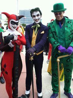 Harley, Joker, and Riddler Batgirl Cosplay, Dc Cosplay, Best Cosplay, Awesome Cosplay, Cosplay Ideas, Group Costumes, Cool Costumes, Cosplay Costumes, Famous Villains