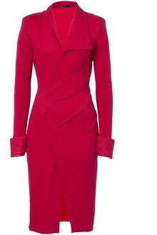 Scarlet Red Draped Stretch Wool Dress discovered on Fantasy Shopper Chic Outfits, Fashion Outfits, Womens Fashion, Western Dresses, Fashion Line, Wool Dress, Elegant Outfit, Donna Karan, Pretty Dresses