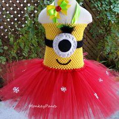 Minion Tutu Dress - Girls Minion Christmas Tutu Dress - Red and Yellow Tutu Dress - Baby Minion Tutu Dress - Minion Costume by MonkeyPantsPartyHats on Etsy