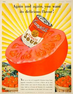 1929 Ad Vintage Campbell's Soup Can Big Red Tomato Plants Field Harves - Period Paper
