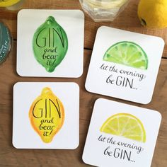 Perfect to whip out at 'gin o'clock', these humorous gin coasters are sure to tickle those who love a little tipple!Available as a set of 4 (one of each design) Please send a separate message with your order if you would like a different mix of coasters ie all one design or all lemon designs, etc.These zesty and eye-catching designs make a great gift for the gin-lover we all know. From a hand-drawn original, the calligraphic lettering was drawn in pen and ink and the lemon/lime in…