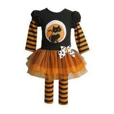 Bonnie Jean Orange and Black Halloween Cat Tutu Leggings Set-