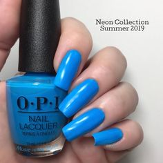 This is Music is My Muse from Summer 2019 Neon Collection - semi-matte cream - opaque in 3 coats (depending on you Blue Stiletto Nails, Navy Blue Nails, Blue Toes, Sparkly Nails, Opi Polish, Nail Polish Colors, Neon, Opi Nails, Pretty Nails