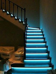 Automatic lighting systems for stairs - Automatic stair lighting. Stair lighting with motion sensors. Smart home - Interactive Home Stairway Art, Stairway Lighting, Strip Lighting, Escalier Art, Escalier Design, Deco Led, House Stairs, Basement Stairs, Staircase Design
