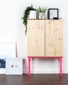Upcycle/ Ikea hack the ivar cabinet by adding ultra-bright NEON legs. - Ikea DIY - The best IKEA hacks all in one place Ikea Hacks, Ikea Furniture Hacks, Furniture Legs, Furniture Makeover, Bedroom Furniture, Furniture Design, Diy Hacks, Ivar Ikea Hack, Neon Furniture