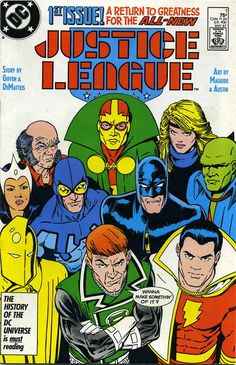 Justice League #1, May 1987, cover by Kevin Maguire and Terry Austin