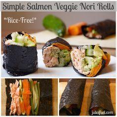 Simple Salmon Veggie Nori Rolls (Rice-Free!)