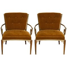 Pair of Jansen-Style Brass Greek Key Armchairs with Velvet Cushions | From a unique collection of antique and modern armchairs at https://www.1stdibs.com/furniture/seating/armchairs/