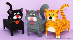 Box cat craft - Recycle some boxes to create these adorable feline friends.