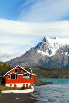 Hotel Pehoe on the shore of Pehoe lake in Torres del Paine national park, Chile, South America