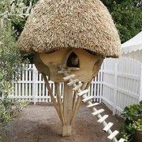 Kippenhok met een dakje van stro.