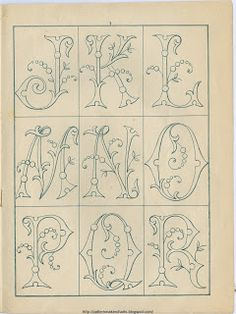 Free Easy Cross, Pattern Maker, PCStitch Charts + Free Historic Old Pattern Books: Sajou No 342 Embroidery Alphabet, Embroidery Monogram, Ribbon Embroidery, Cross Stitch Embroidery, Embroidery Designs, Monogram Design, Monogram Fonts, Monogram Letters, Doodle Lettering