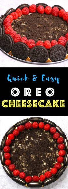 This Oreo Cheesecake is out of this world delicious, and it looks absolutely gorgeous too! I love Oreos and cheesecake, and this time I add raspberries. It totally melt-in-your-mouth and highly addictive! Köstliche Desserts, Delicious Desserts, Dessert Recipes, Yummy Food, Easy Oreo Cheesecake Recipe, Cheesecake Bites, Oreo Cookies, Yummy Cookies, Oreo Cupcakes