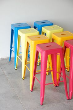 Custom Painted & Upholstered Tolix Style Stool in the Color and Fabric of your Choice Counter Height Painted Furniture, Diy Furniture, Metal Counter Stools, School Chairs, Custom Paint, Cafe Bar, House Colors, Industrial Style, Making Ideas