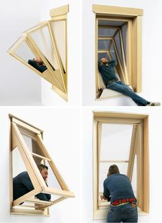 Innovative More Sky Windows Transform into Outdoor Seating for Small Apartments Architect Aldana Ferrer Garcia has created windows that allow people living in small apartments to enjoy some more sky and sunlight. Space Saving Furniture, Diy Furniture, Furniture Design, Home Interior Design, Interior Architecture, Interior Decorating, Small Apartments, Small Spaces, Window Design