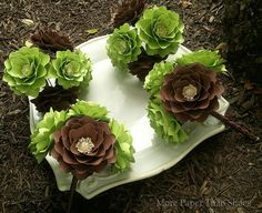 Bridesmaids Bouquets  #fall #paperflowers #bouquets #green #brown