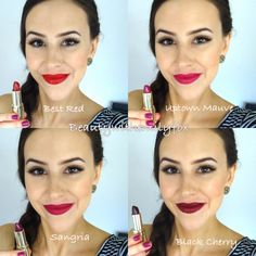 Milani Color Statement Lipsticks - Lip Swatches. Best Red, Uptown Mauve, Sangria and Black Cherry