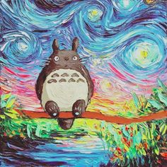 My Neighbor Totoro Art Starry Night Giclee print van Gogh Never Met His Neighbor by Aja Choose size and type of paper - Anime Art Studio Ghibli, Studio Ghibli Films, Anime Body, Anime W, Ponyo Anime, Anime Girls, Anime Naruto, Manga Girl, Hayao Miyazaki