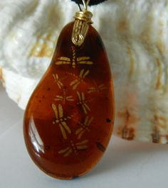 Amber Fused Glass with Gold Dragonflies Pendant by uniquenique, $30.00 #onfireteam #lacwe #teamfest #tbec #pendant #jewelry #dragonflies