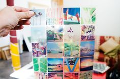 Instagram images printed on transparencies for a stained glass effect